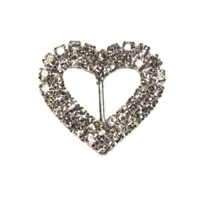 Double Diamante Heart Buckle – Vertical Bar