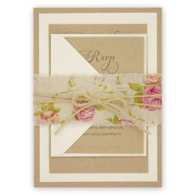 Antique Rose Parcel Wedding Invitation
