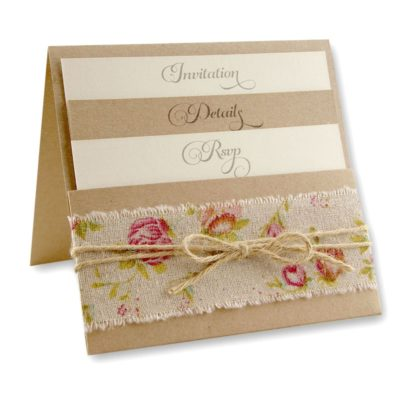 Antique Rose Pocketfold Wedding Invitation