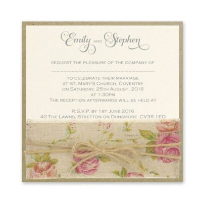 Antique Rose Layered Square Wedding Invitation