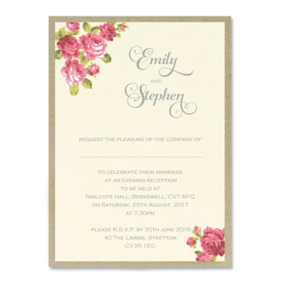 Antique Rose Print Wedding Invitation