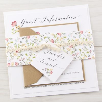 Country Bloom Parcel Wedding Invitation