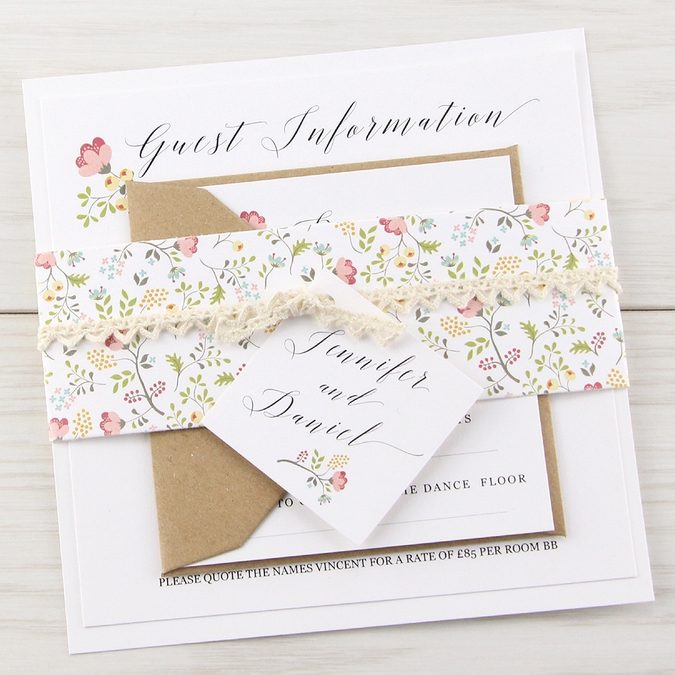 Cheap Print Your Own Wedding Invitations: Country Bloom Parcel Wedding Invitation