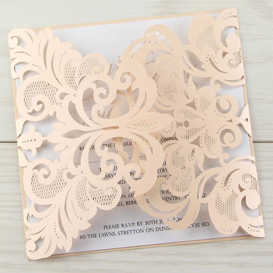 Laser Cut Iris with Script Font - Blush | Pure Invitation Wedding ...