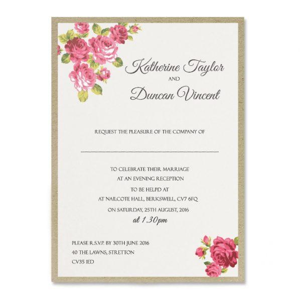 Cheap Shabby Chic Wedding Invitations: Charlotte Print Wedding Invitation