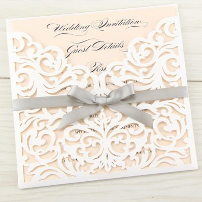 Ruby Laser with Satin Bow Wedding Invitation
