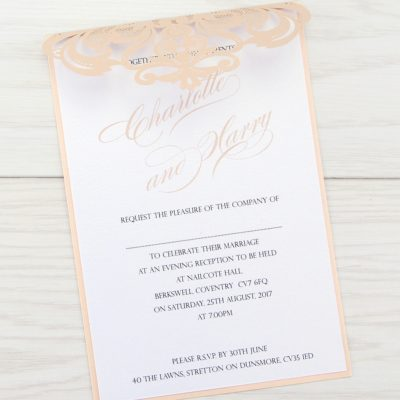 Iris with Script Font – Blush Evening Invitation