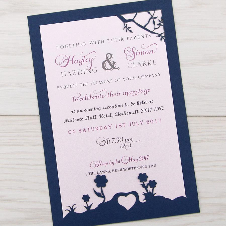Contemporary Wedding Invitations: Laurel Tree Contemporary Fonts Evening Invitation