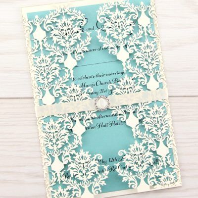 Rosa with Diamante Buckle Wedding Invitation