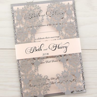 Rosa with Belly Band Wedding Invitation