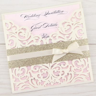 Ruby with Glitter and Bow Wedding Invitation