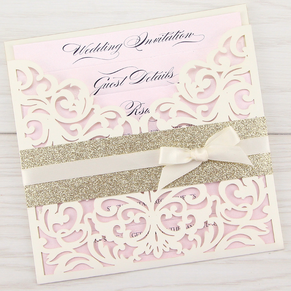 Wedding Invitation Book Style: Ruby With Glitter And Bow Wedding Invitation