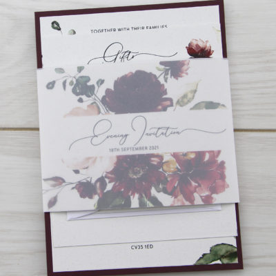 Bryony Claret Parcel Wedding Invitation