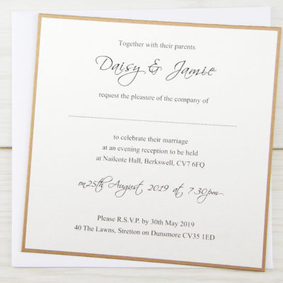 Layered Square with Script Print Wedding Invitation