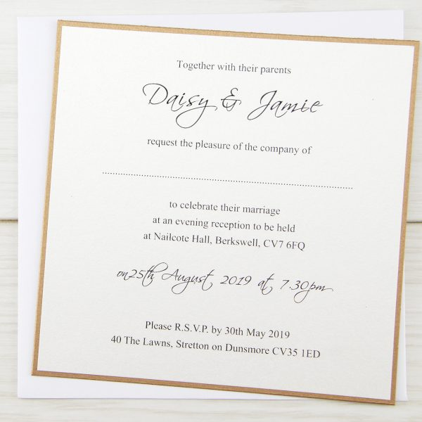 Wedding Invitation Printing.Layered Square With Script Print Wedding Invitation