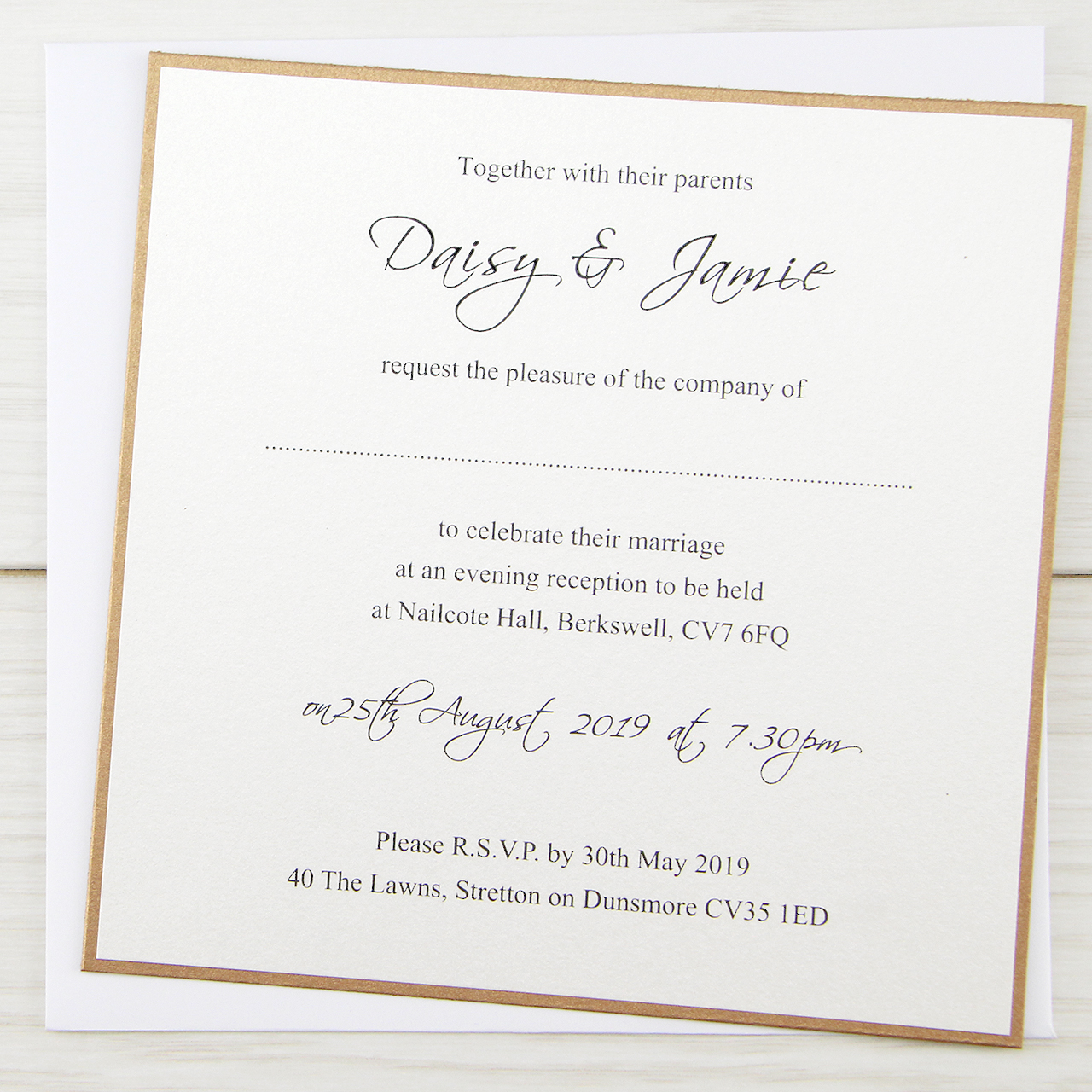 Invitation Ideas For Wedding: Layered Square With Script Print Wedding Invitation
