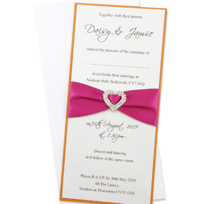 Long Layer with Heart Buckle Wedding Invitation