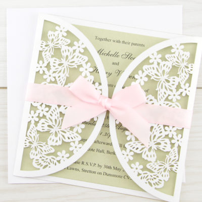 Butterfly Laser with Bow Wedding Invitation