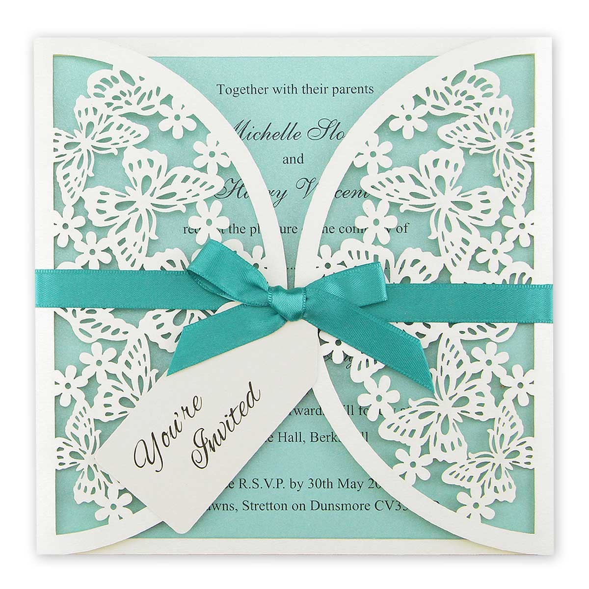 Butterfly Themed Wedding Invitations: Butterfly Laser With Tag Wedding Invitation