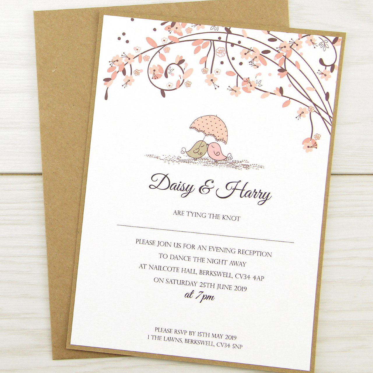 Samples Of Wedding Invites: Love Birds Evening Invitation