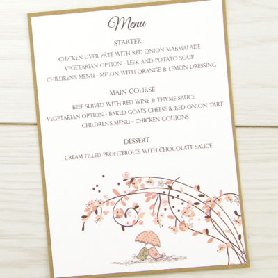 Love Birds Menu