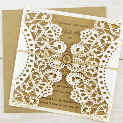 Doily Laser with Button Wedding Invitation