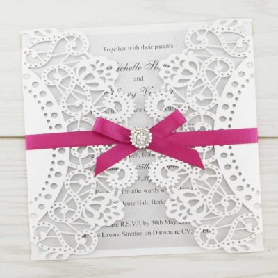 Doily laser with Diamante Cluster Wedding Invitation