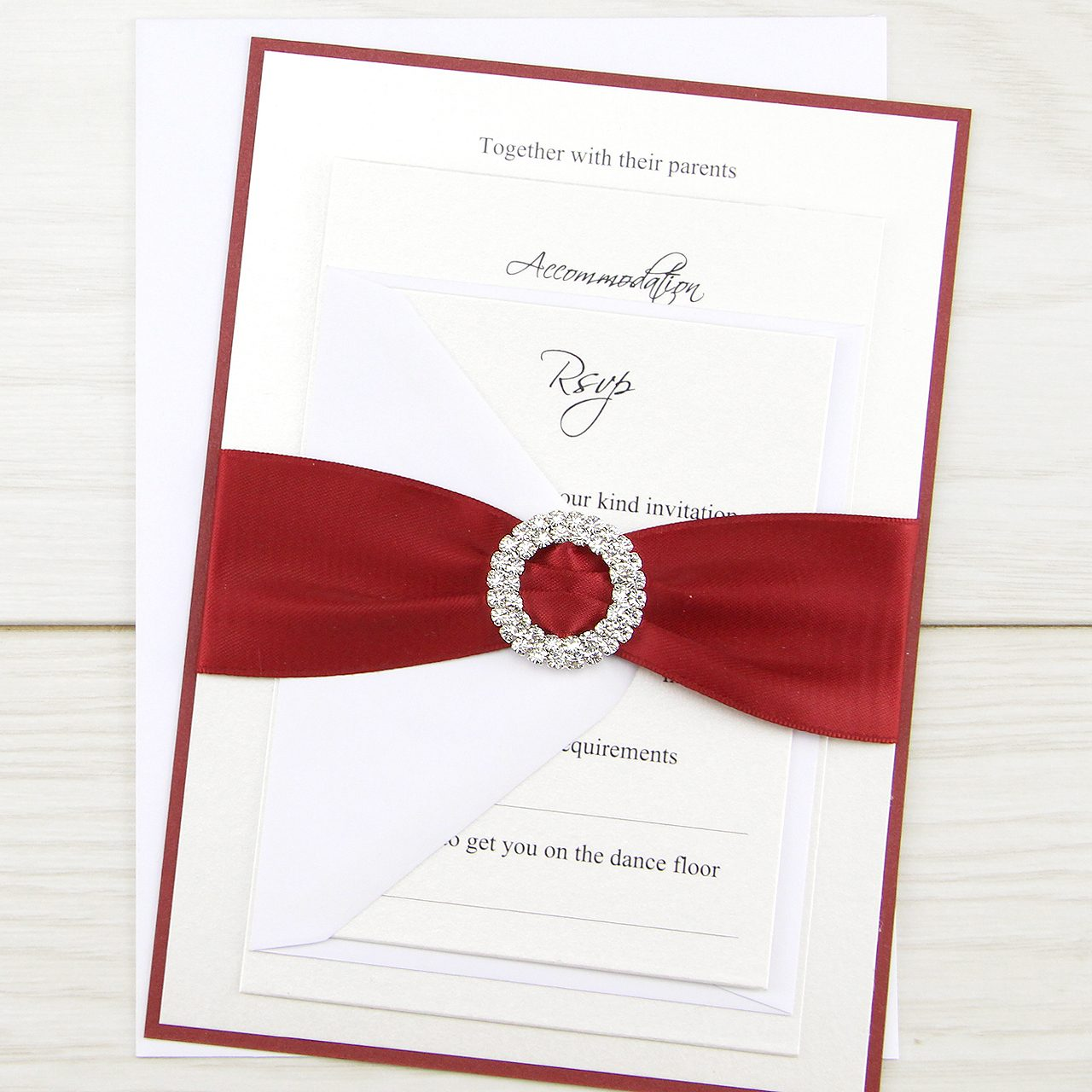 Double Diamante Buckle Parcel Wedding Invitation | Pure Invitation ...