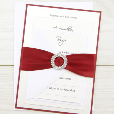 Double Diamante Buckle Parcel Wedding Invitation