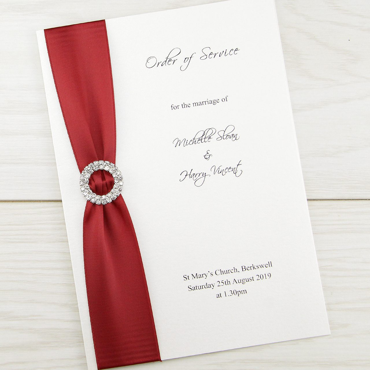 Double Diamante Order of Service | Pure Invitation Wedding Invites