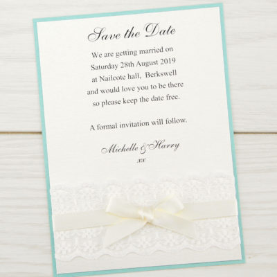 Embroidered Lace Save the Date