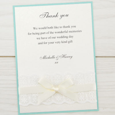 Embroidered Lace Thank you Card