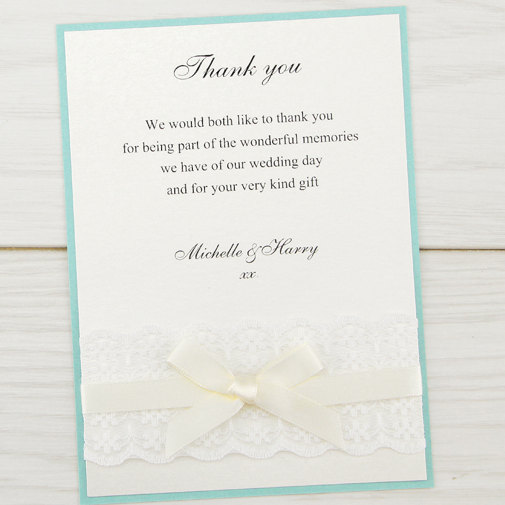 Embroidered Lace Thank you Card | Pure Invitation Wedding ...