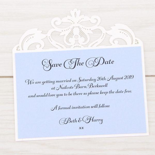 Farrah save the date pure invitation wedding invites white laser matt azure blue insert stopboris Images