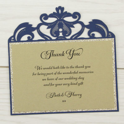 Farrah Glitter Thank you Card