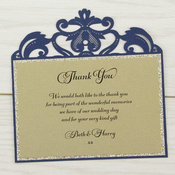 Farrah Glitter Thank You Card Pure Invitation Wedding Invites