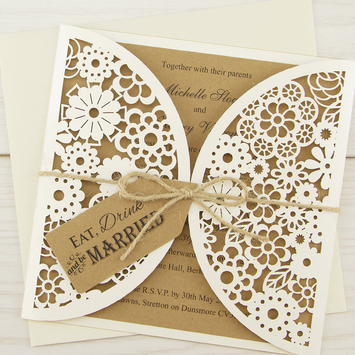 Laser Cut Eat Drink And Be Married Wedding Invitation