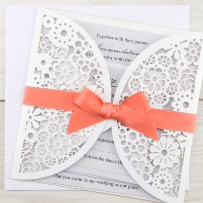 Floral Laser with Bow Wedding Invitation