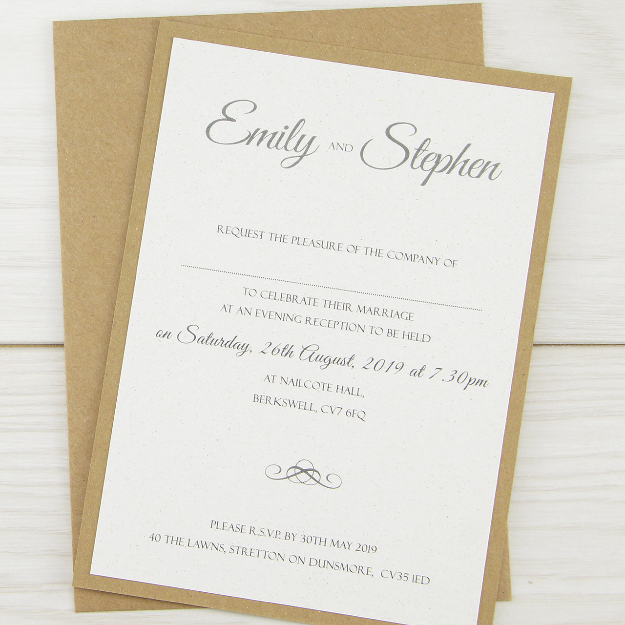 Wedding Wording For Invites: Rustic Glamour Evening Invitation