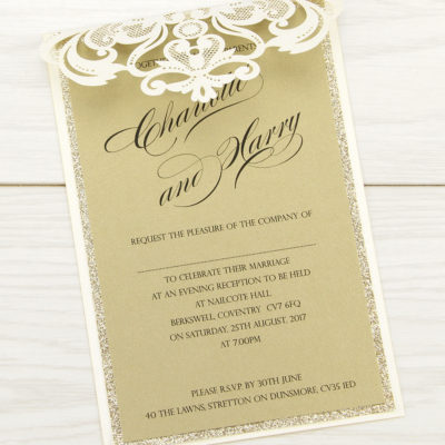 Iris Laser with Glitter Evening Invitation