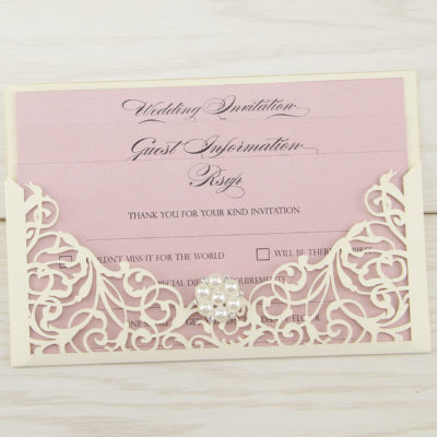 Isabella with Pearl Cluster Wedding Invitation