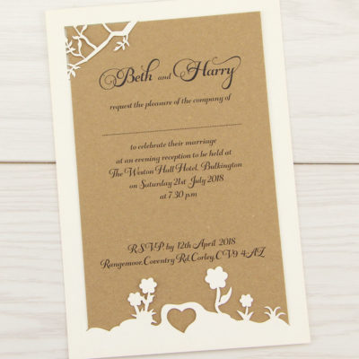 Laurel Tree Belly Band Font Evening Invitation