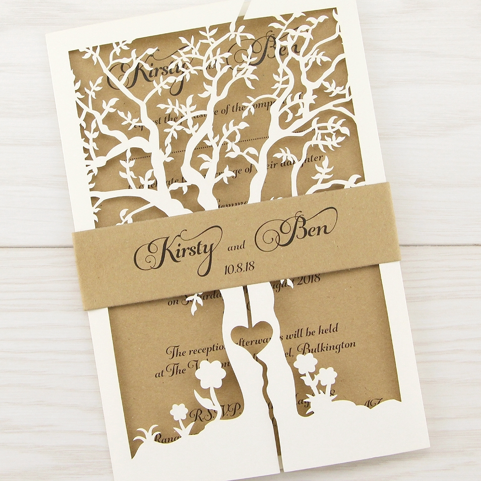 Invitation Ideas For Wedding: Laurel Tree With Belly Band Wedding Invitation