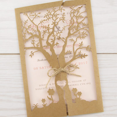 Laurel Tree Laser with Twine Wedding Invitation