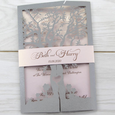 Laurel Tree with Belly Band Wedding Invitation