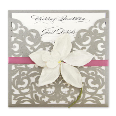 Ruby Laser with Orchid Wedding Invitation