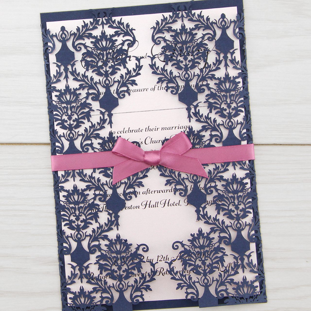 Diy wedding invitations free samples pure invitation wedding invites rosa with satin bow stopboris Images