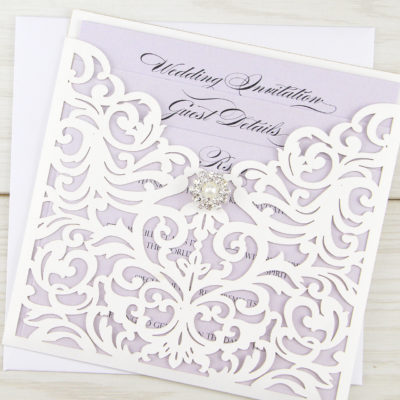 Ruby Laser with Vintage Diamante Wedding Invitation