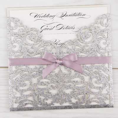 Glitter Ruby with Bow Wedding Invitation