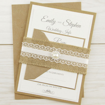 Rustic Glamour Parcel Wedding Invitation